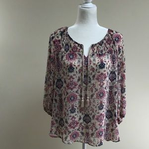 Sonoma top, sheer, size XL petite tan/nav…